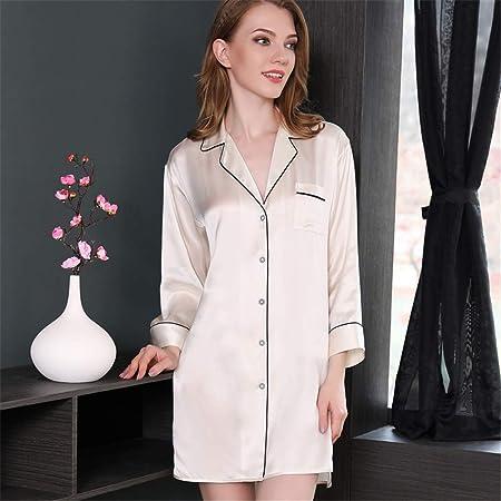 BUTTERFLYSILK Camisa de Dormir para Mujer, camisón de Seda 100% Camisa de Dormir de Manga Larga Camisón de Mujer Camisa de Dormir Abotonada Ropa de Dormir Ropa de Dormir,Beige,L: Amazon.es: Hogar