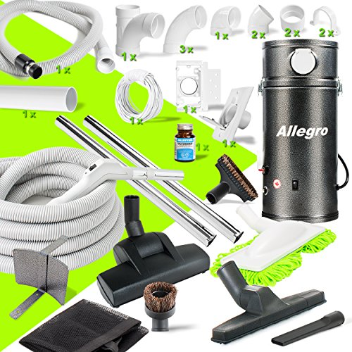 Allegro Central Vacuum Deluxe Straight Air Package & 1 Inlet Installation Kit for RVs Campers Trailers Yacht