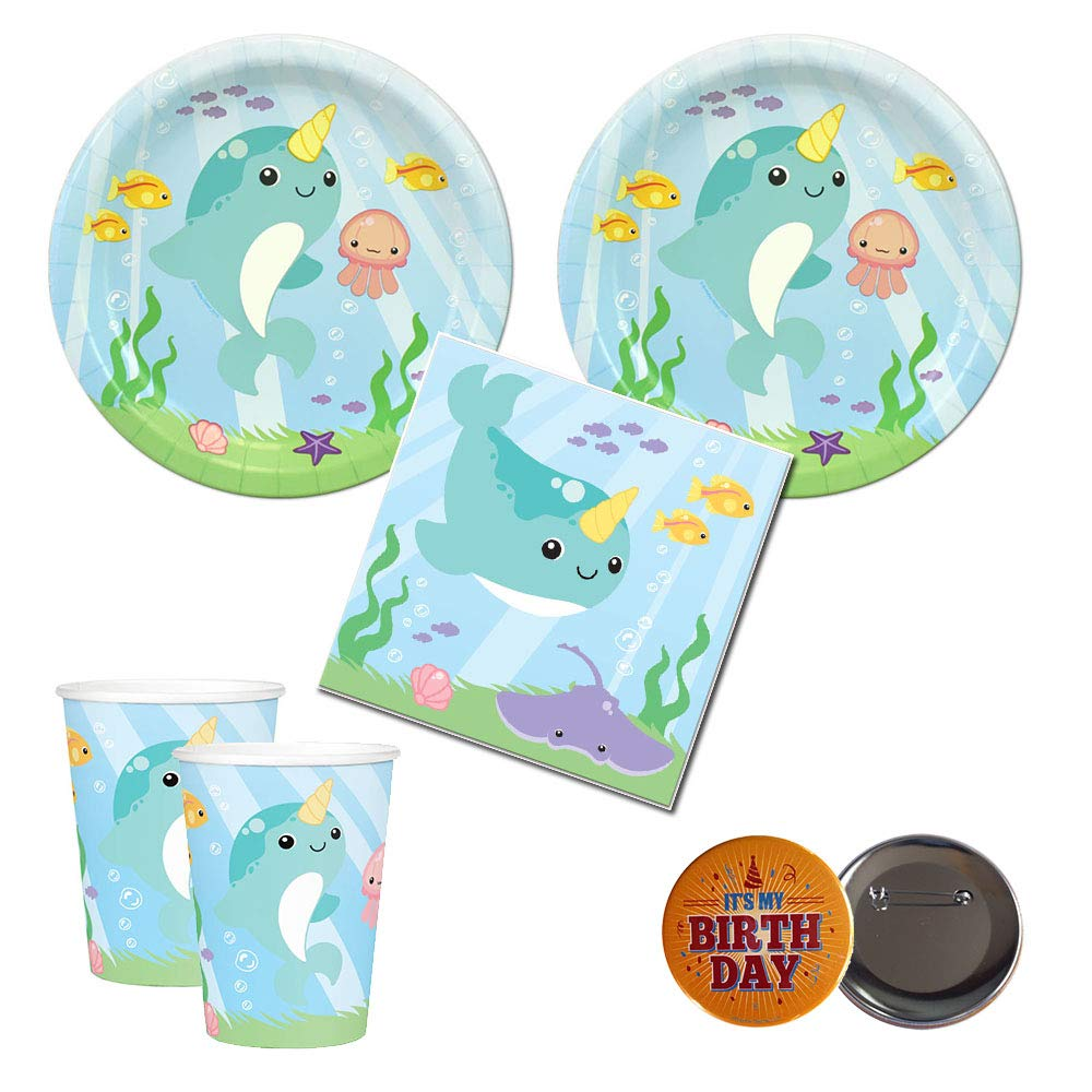 02 Narwhal Party Supplies, 16 Guests, Plates, Napkins, Cups, Button
