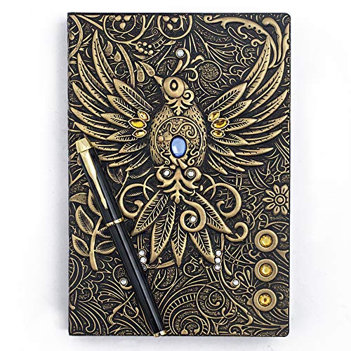 Embossed Leather Journal Writing Notebook - Antique Handmade Leather Daily Notepad Sketchbook, Travel Diary & Notebooks to Write in, Phoenix Gift For Men & Women, with Golden Classic Pen, (Bronze) (Journal Leather Embossed)