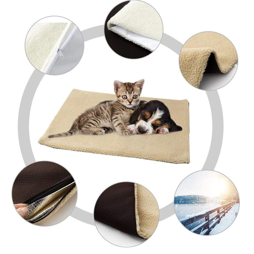 Navigatee Self-Heating Pet Bed Self Heating Pet Bed Super Soft Fleece Warm Comfortable Mat Pet-Washable Bed For Cats Dogs 60x45CM