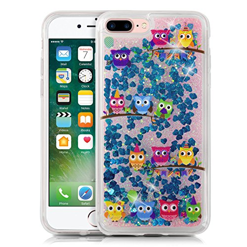 Owl Rubber (iPhone 7 Plus & IPhone 8 Plus Case, TortugaArmor Bunch of Owls Print [Sapphire Blue] Bling Glitter Sparkle Transparent Flexible Soft Rubber Gel TPU Protective Shell Hybrid Bumper Case)