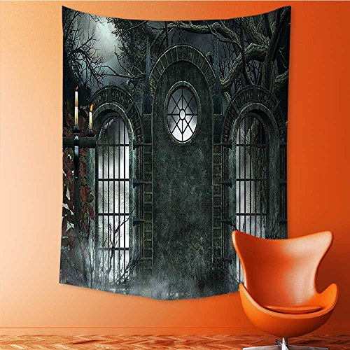 SOCOMIMI Wall Tapestry Flower Tapestry Floral Words Tapestry Wall Hanging Halloween Gate Background Candles Fiction View Gray Tapestry Wall Decor Quote Tapestry 51.1L x 59W -