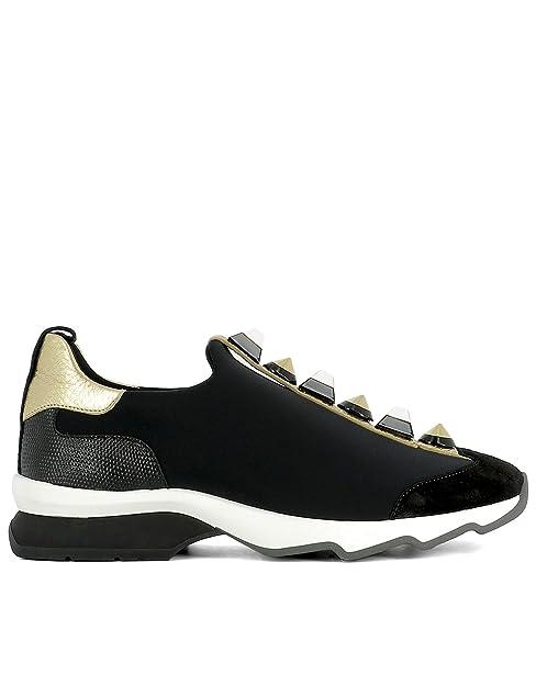 dce961ed86 Fendi Slip On Sneakers Donna 8E6386SNNF07BE Tessuto Nero/Oro: Amazon ...