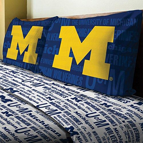 4pc NCAA Michigan Wolverines Full Sheet Set College Anthem Bedding