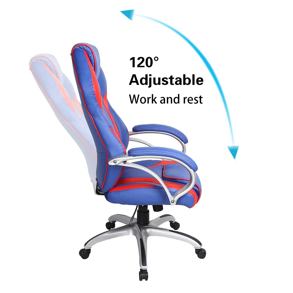 Smugdesk Executive Racing Style Office Chair PU Leather Swivel Computer Desk Seat High-Back Gaming Chair Red and Blue