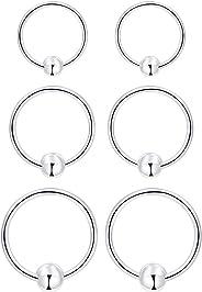 Small Hoop Earrings for Cartilage - 925 Sterling Silver Hoop Earrings Ball Huggie Tiny Hoop Earrings Set For Women Men Tragu