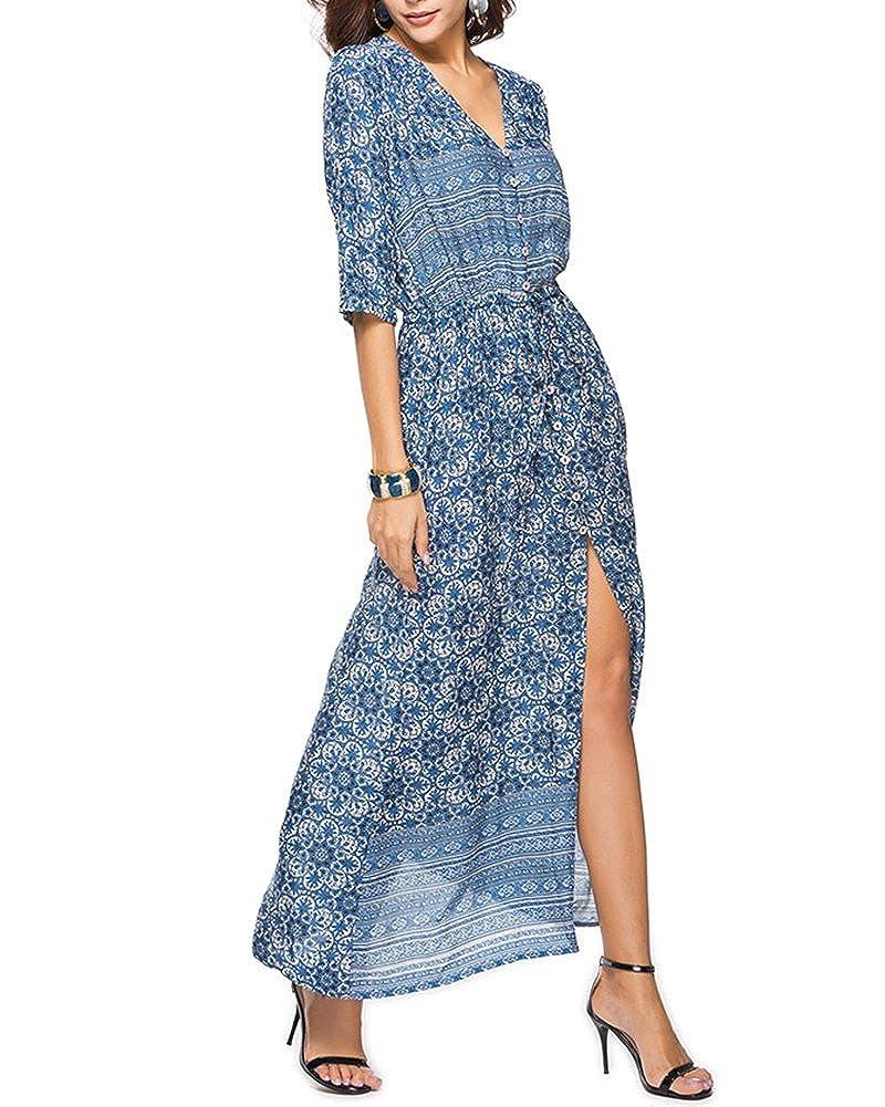 4e8f2962229a ZiXing Damen Sommerkleider V-Ausschnitt Strand Blumen Kleider Abendkleid  Lang Partykleid Maxi Kleider  Amazon.de  Bekleidung