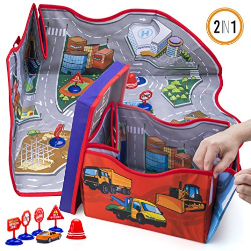Prextex 2-in-1 Convertible Toy Cars Storage Bin Toy Car Play Mat