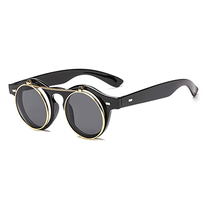 Amazon.com: Vintage Round Steampunk Flip Up Sunglasses ...