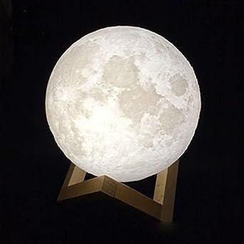 3d Druck Wiederaufladbare 3 Farben Andern Mond Lampe Touch Schalter Decor Tisch Schreibtischlampe Kreative Led Nachtlicht Mit Stehen 20cm Mondschatten Amazon De Beleuchtung