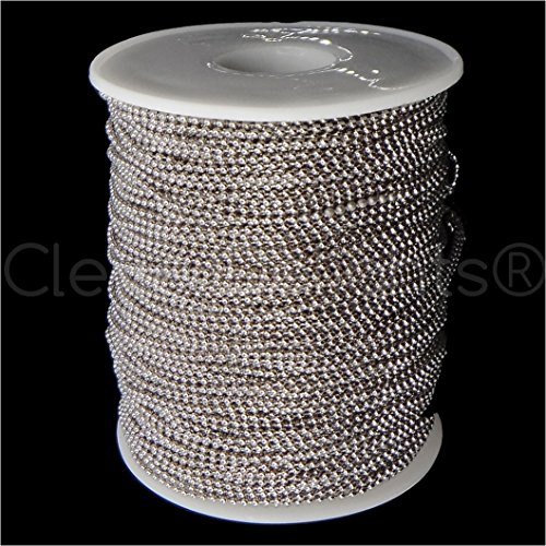 CleverDelights- Ball Chain Spool - 330 Feet - 1.5mm Ball (Small) - Antique Silver (Platinum) Color - - Ball Platinum Mm 1.5