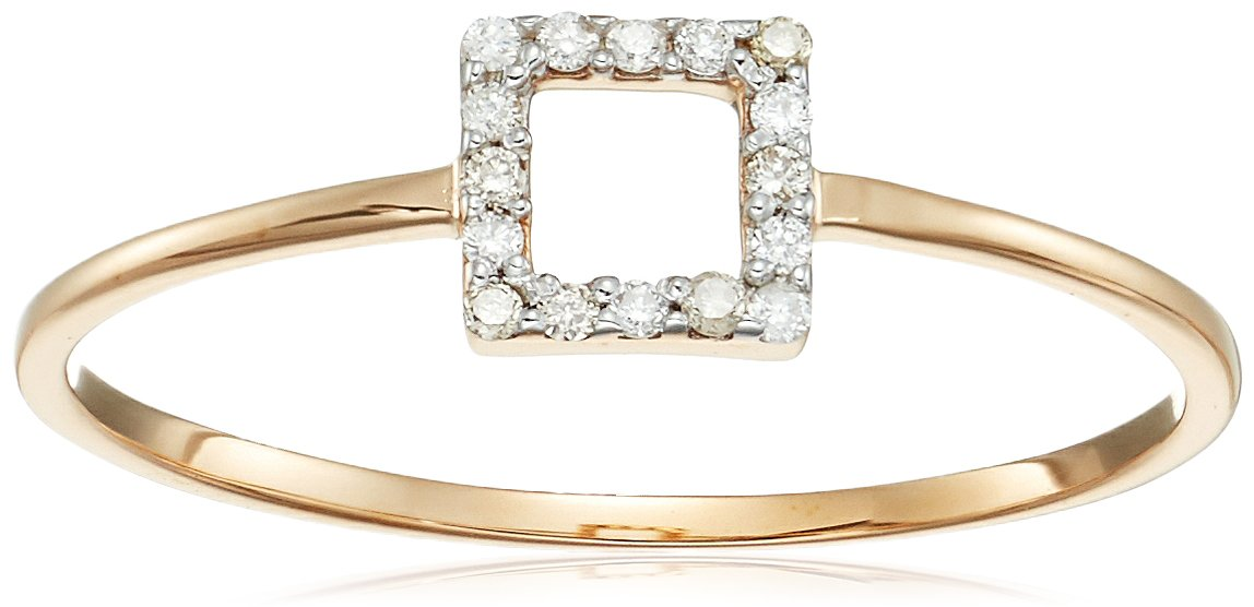 MATEO 14k Gold Mini Diamond Square Stackable Ring, Size
