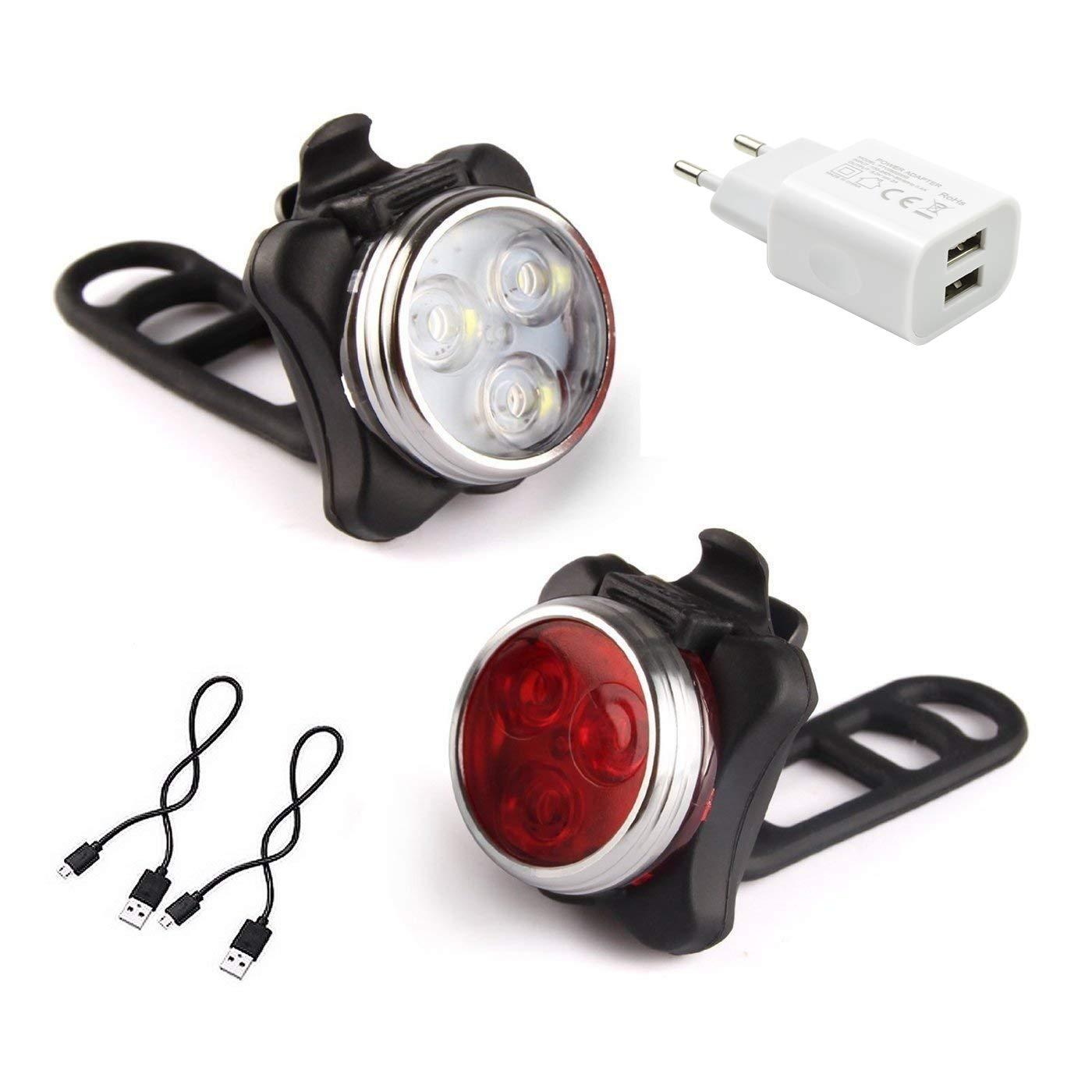 AMANKA Luces Bicicleta LED, Luz para Bicicleta por USB Conjunto de Luces Delantera y Trasera para Bicicleta 4 Modo 650mAh Reflector Bici Seguridad Faro de Señal