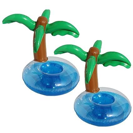 BESTOYARD 2pcs Posavasos inflables Palm Tree Holder Piscina Flotador Bebida Titulares: Amazon.es: Juguetes y juegos