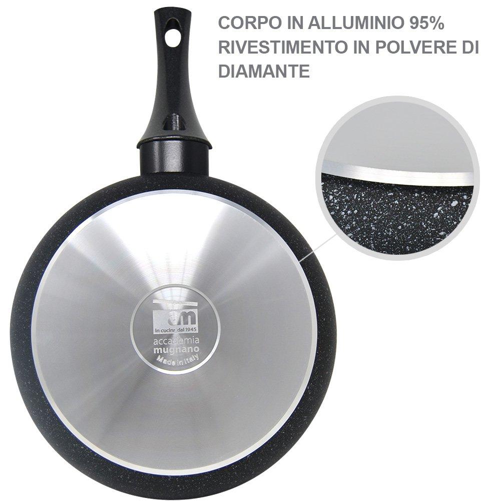 BAKAJI Juego 3 Sartenes diámetro 20 24 28 cm diamante de Luna Accademia Mugnano sartén antiadherente con sistema Thermo OK rispamio consumo cuerpo de ...