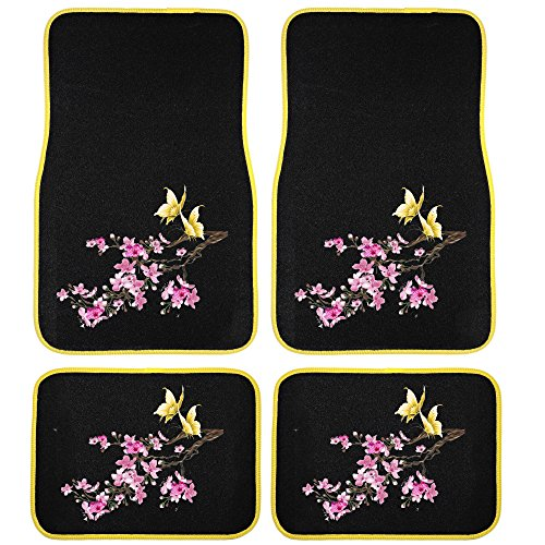 UAA 4pc Cherry Blossom Yellow Butterfly Universal Front Rear Carpet Floor Mat Set
