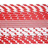 Kearui Paper Drinking Straws for Birthdays Weddings Christmas Celebrations and Parties Red 150 Pieces (5 Patterns)