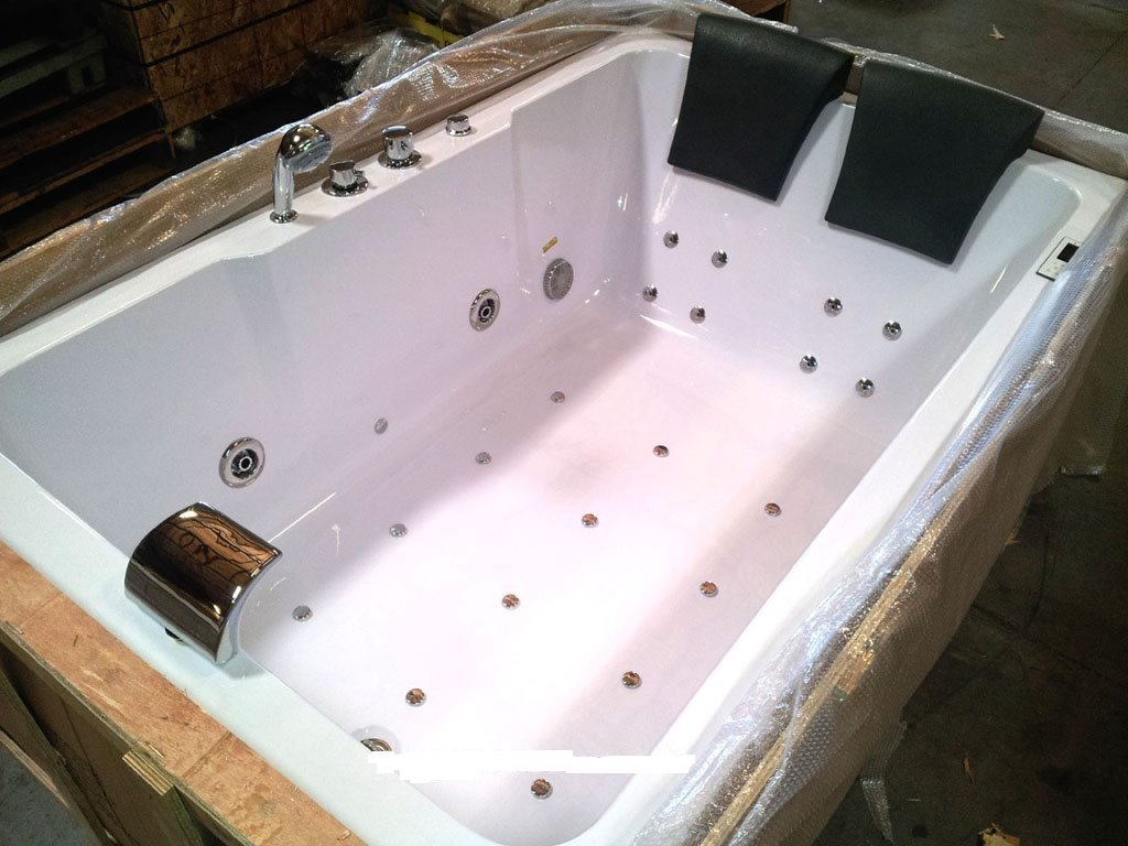 2 Two Person Indoor Whirlpool Massage Hydrotherapy White Bathtub Tub ...