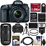 Canon EOS 7D Mark II Digital SLR Camera & 18-135mm IS USM & Wi-Fi Adapter with 70-300mm IS II Lens + 64GB Card + Case + Flash + Battery + Tripod Kit