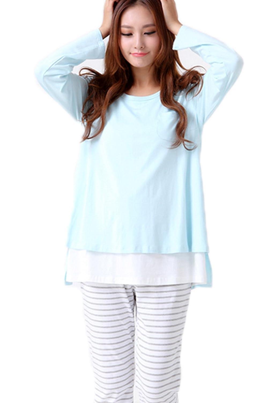SmallShow Women's Maternity Nursing Pajamas Set 2 Pcs Breastfeeding Top and Pant Blue Size L XMS900BLUEL