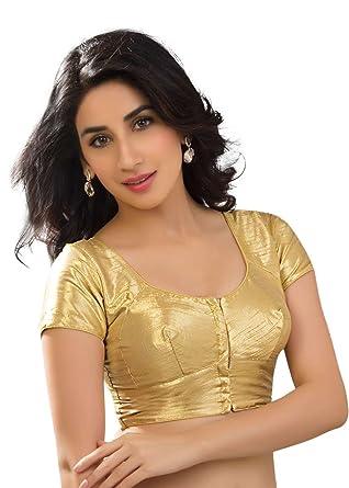 79bc8fb3ad8c35 Amazon.com: Silk Katori Style Gold Shimmer Ready-made Saree Blouse Sari  Choli - KT-2: Clothing