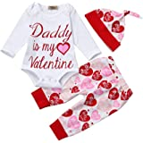YOYOUG Baby Girls Clothes Set, Newborn Infant Baby Girl Letter Printed Daddy Is My Valentine Romper Tops+Pants+Hat Valentine's Day Outfit Set For 0-18 Months