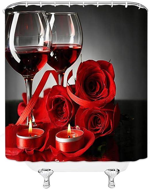 Valentines Roses Red /& Black Bokeh Background Shower Curtain Set Bathroom Decor