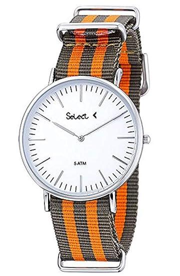 CE-03-08 Reloj Select Unisex, analógico, caja de acero, correa bicolor verde y naranja, sumergible 50 metros, garantía 2 años.: Amazon.es: Relojes