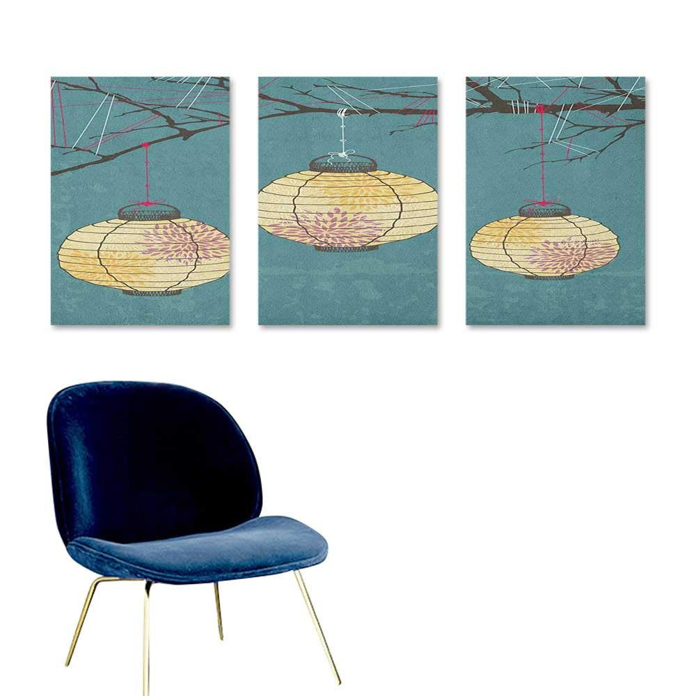Agoza Lantern Graffiti Canvas Painting Three Paper Lanterns Hanging on Branches Lighting Fixture Source Lamp Boho A for Your Relatives and Friends 3 Panels 24x47inch Teal Pale Yellow