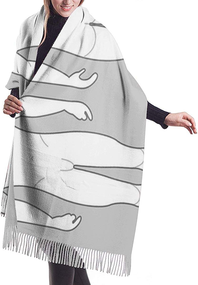 Back Human Male Body From Three Angles Outline Side Soft Cashmere Scarf For Women Fashion Lady Shawls,Comfortable Warm Winter Scarfs