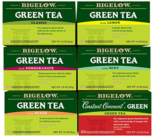 Bigelow Mixed Green Teas 20 Count (Pack of 6), 120 Tea Bags Total.  Caffeinated Individual Green Tea Bags, for Hot Tea or Iced Tea, Drink Plain or Sweetened with Honey or Sugar
