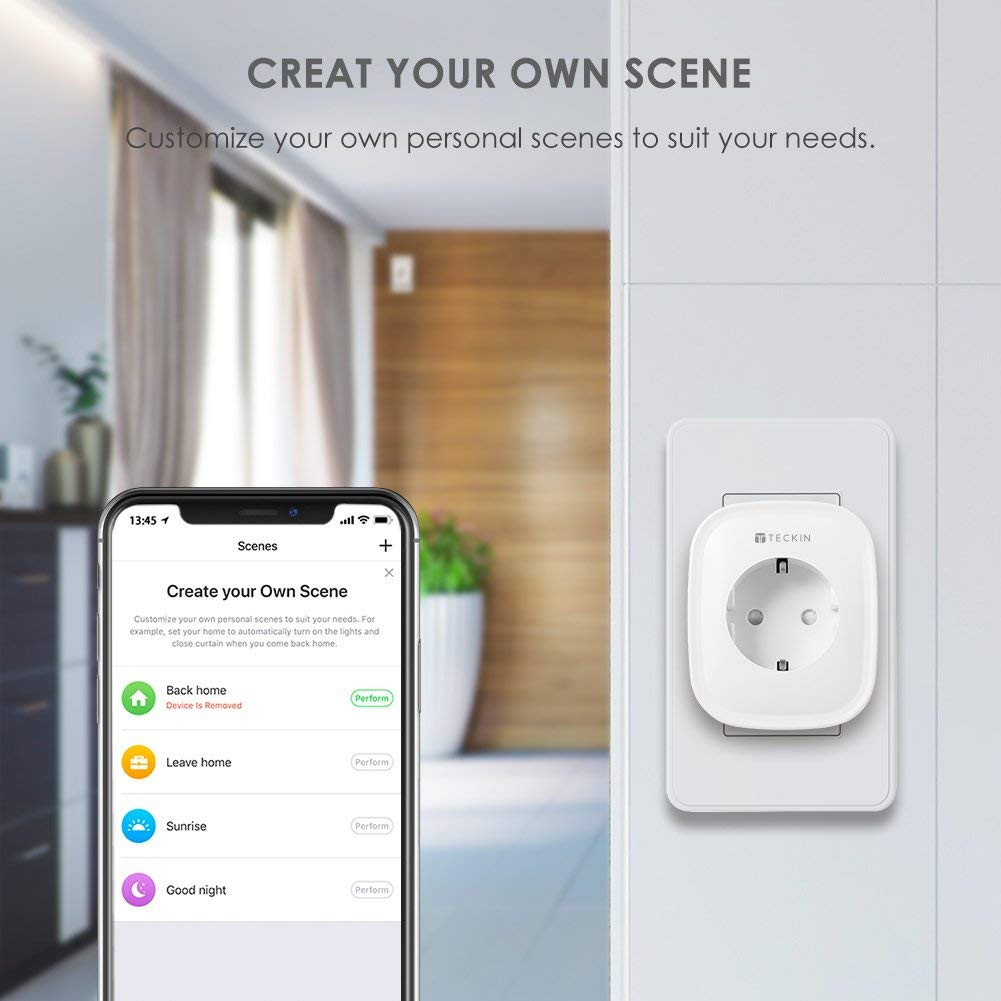Fonctionne de minuterie et lhoraire Prise intelligente TECKIN wifi,T/él/écommandable par la voix et Smart Life,fonctionne avec  Alexa et Google Home Surveiller la consommation d/énergie 2 pack