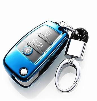 YUWATON Funda para Llave de Coche con Mando a Distancia para Audi, A1, A3, A5, Q3, Q7, Carcasa para Llave, Llavero Azul