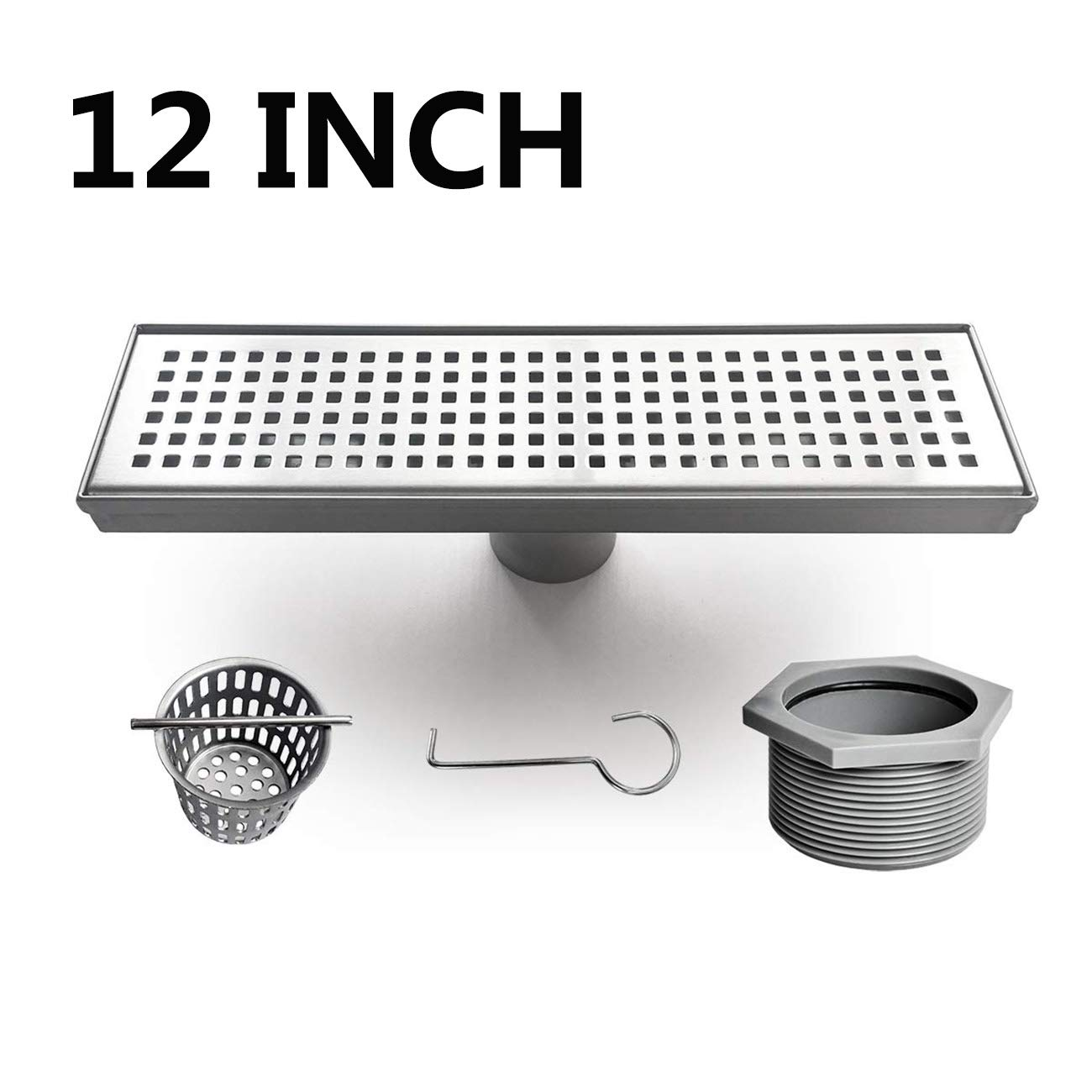 Neodrain Linear Shower Drain 12-Inch with Removable Grate, Professional Brushed 304 Stainless Steel