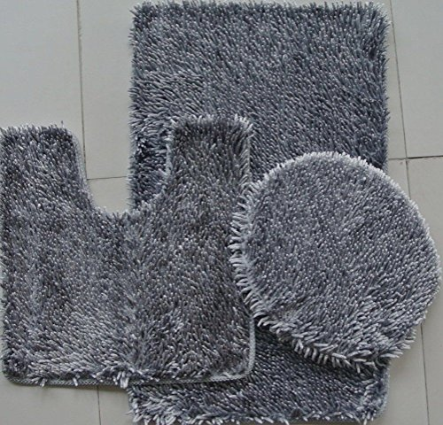 3-Piece JELLY CHENILLE Bathroom Mat Set, Bath Mat, Contour and Cover (Grey) ()