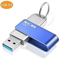 MECO ELEVERDE Clé USB 3.0 32 Go Clef USB 32 Giga Cle USB Memory Stick 32 GB avec Porte-Clés Flash Drive Clefs USB U Disque Antichoc en Aluminium pour PC/Ordinateur Portable/Smart TV