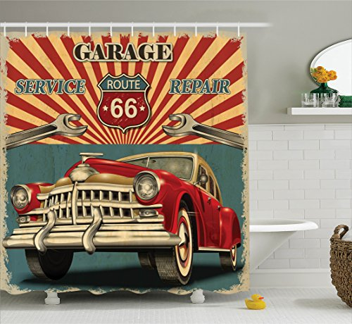 Ambesonne Americana Decor Collection, Vintage Garage Repair Shop Advertising Automobile Rustic Vehicle and Nostalgic Retro Art, Polyester Fabric Bathroom Shower Curtain Set with Hooks, Red Grey