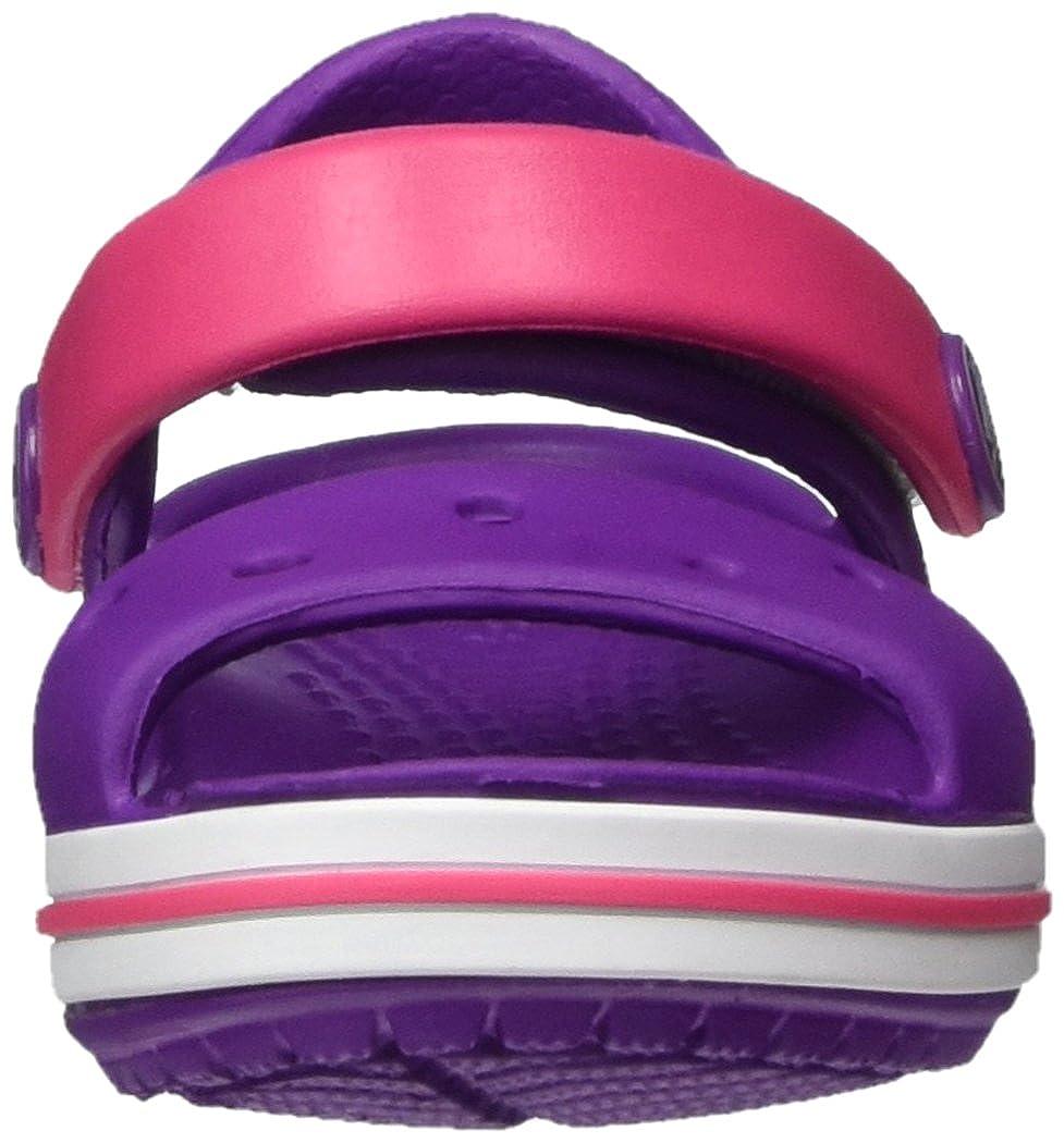 Crocs Kids Crocband Croslite Hook /& Loop Sandal Amethyst//Paradise Pink