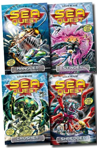 Sea Quest Series Collection Adam Blade 4 Books Set (5 to 8) (Mangler - The Dark Menace, Crusher - The Creeping Terror, Stinger - The Sea Phantom, Shredder - The Spider Droid)