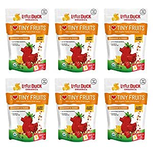 Little Duck Organics I Love Tiny Fruits, Freeze Dried Snacks, Strawberry & Mango, 0.75 Ounce Pouch (Pack of 6)