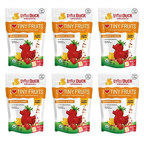 Little Duck Organics, I Love Tiny Fruits, 100% Organic Freeze Dried Snacks, Strawberry and Mango, 6 -