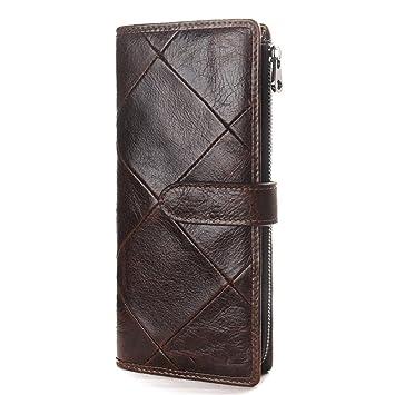 Billetera Costura de la billetera larga de cuero de los hombres de la cremallera del embrague