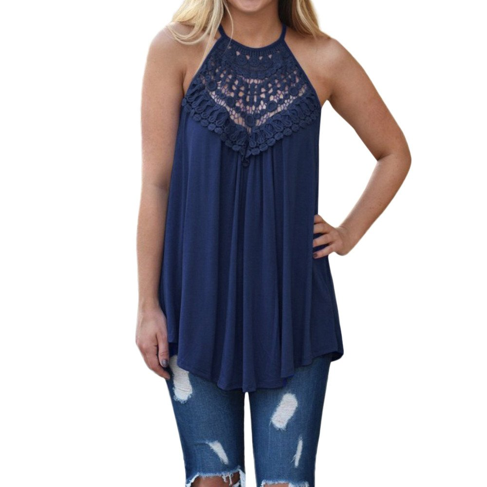 Vickyleb Summer Vest Womens Casual Sleeveless Tops Ladies Hanging Neck Top Loose Openwork Shirts and Blouses Navy