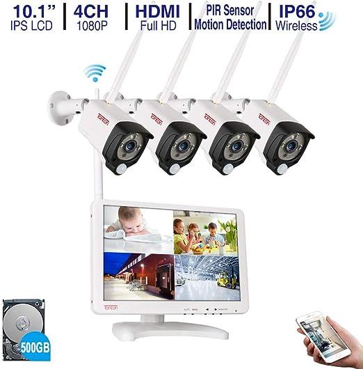 "SANNCE 4CH Überwachungskamera 1080N DVR 10.1/"" LCD Monitor Videoüberwachung IP66"