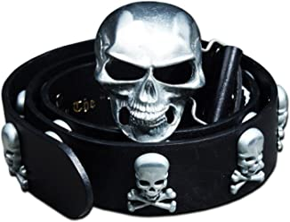 ByTheR Mens Techwear Street Lettering Embroidery Skull Buckle Strap Black Belt