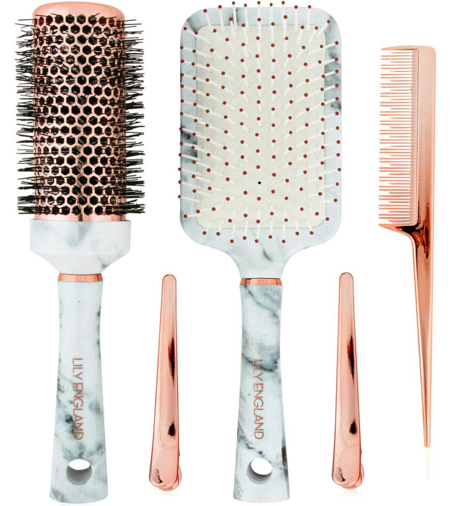 Lily England Hair Brush Set - Paddle Brush, Round Blow Drying Hairbrush, Comb & Clips Marble & Rose Gold