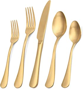 Matte Gold Silverware Set, Satin Finish 20-Piece Stainless Steel Flatware Set,Kitchen Utensil Set Service for 4,Tableware Cutlery Set for Home and Restaurant, Dishwasher Safe
