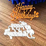 Geyou Dies Metal Cutting Stencils Happy Birthday Words Animal Die Stamps Embossing Stencil for DIY Scrapbooking Album Paper Card Crafts Decoration New (J)