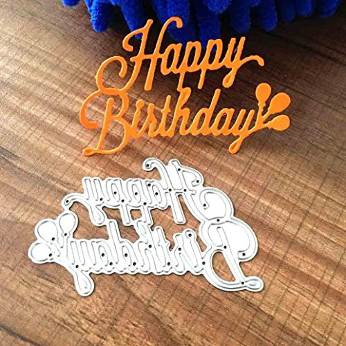 Geyou Dies Metal Cutting Stencils Happy Birthday Words Animal Die Stamps Embossing Stencil for DIY Scrapbooking Album Paper Card Crafts Decoration New (J) by Geyou